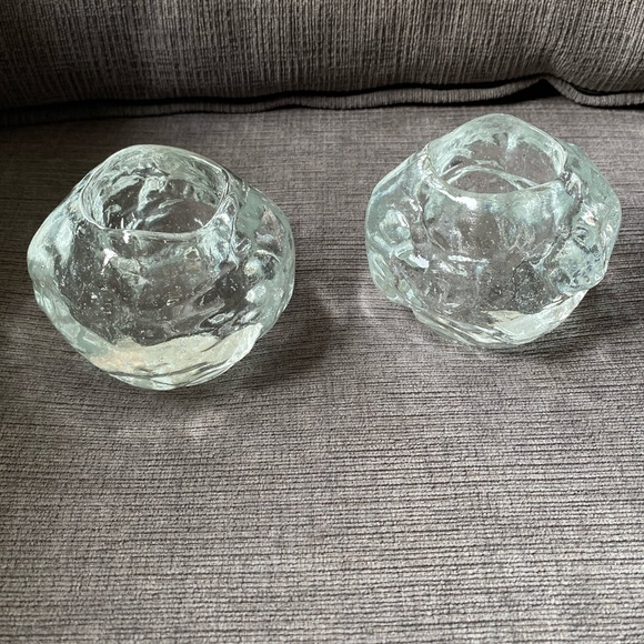 Pair of heavy snowball glass candle holders